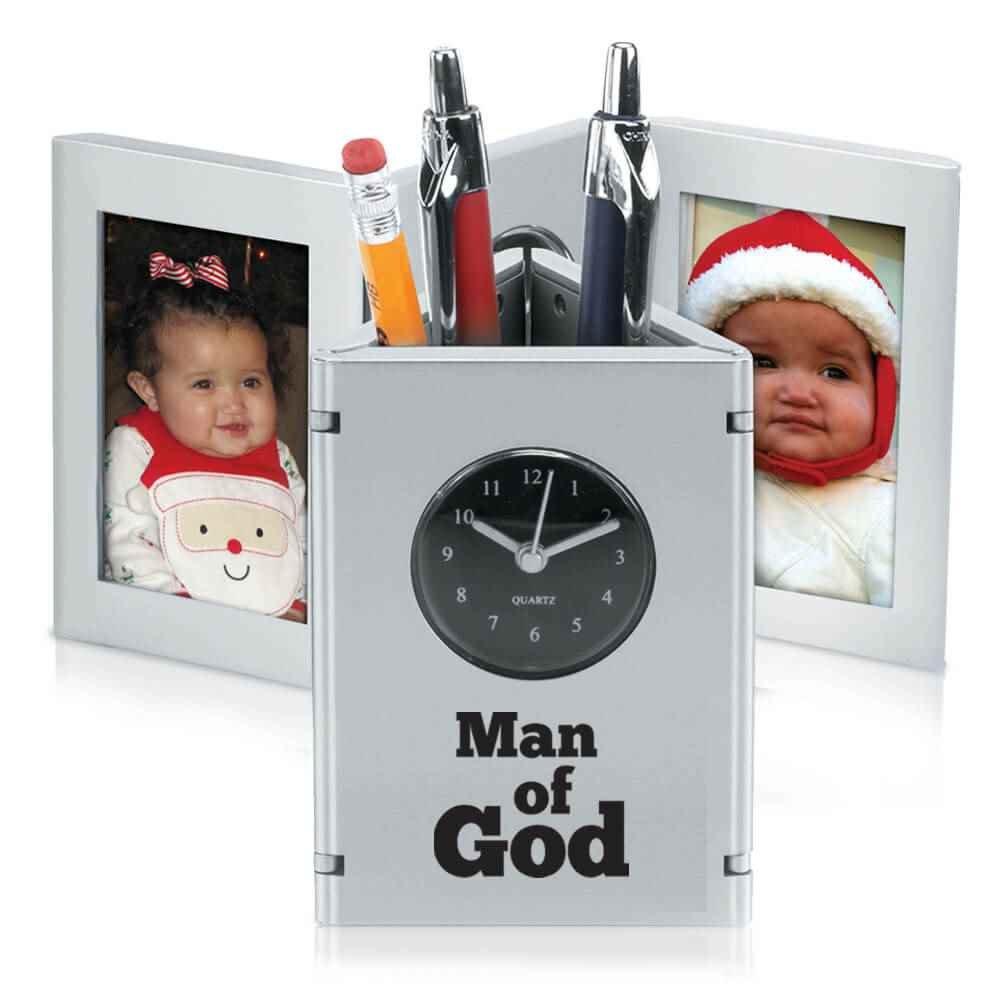 Man Of God Tri-Fold Frame Clock & Caddy