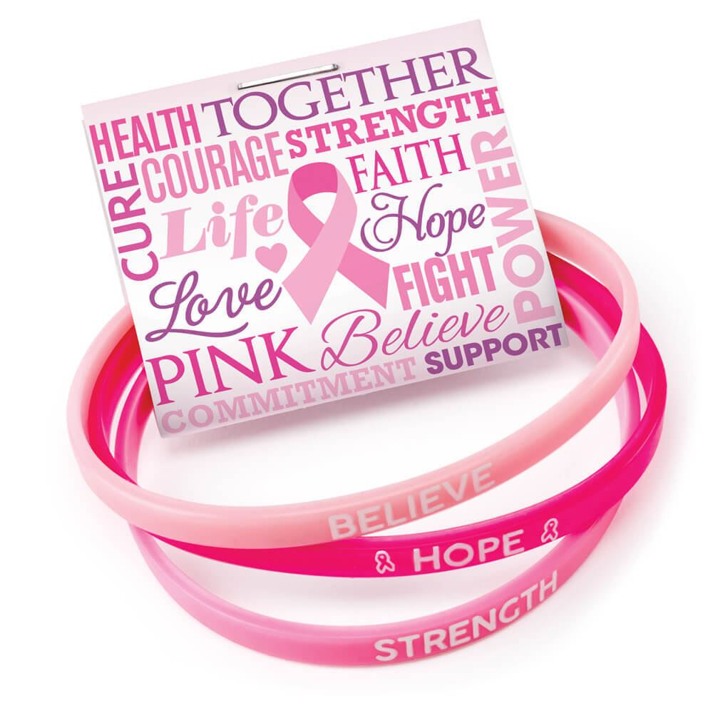 Breast Cancer Awareness Mini Silicone Bracelet Trio Set With Card