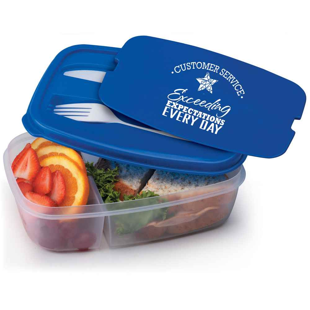 Customer Service: Exceeding Expectations Every Day 2-Section Food Container with Utensils