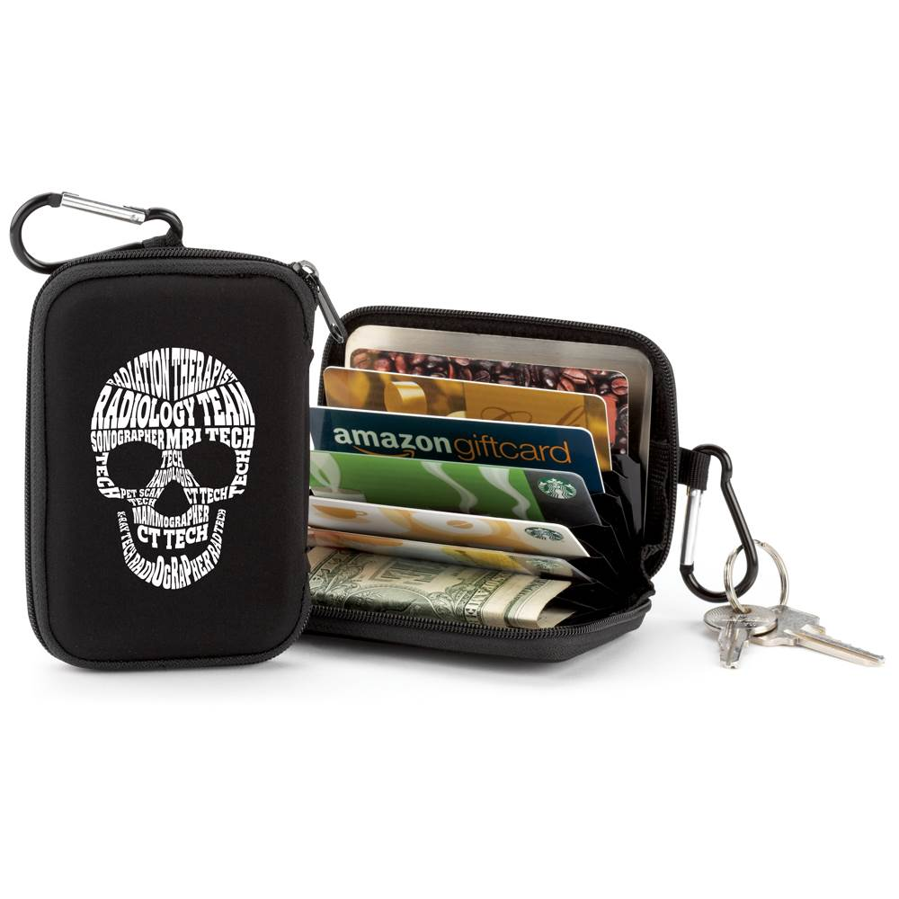 Radiology Team Skull Word Cloud Identity Guard Wallet With Carabiner