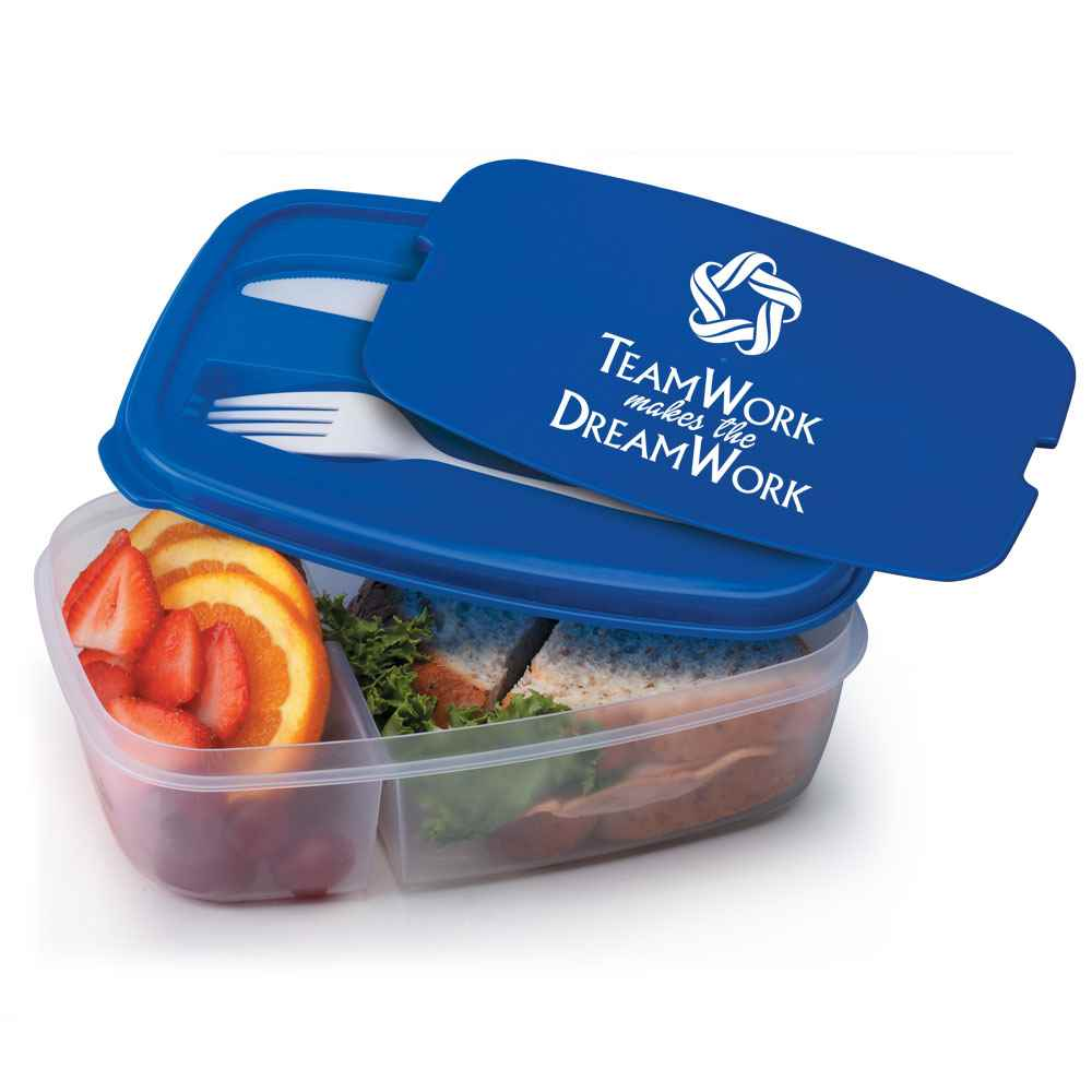 Teamwork Makes The Dream Work 2-Section Food Container With Utensils