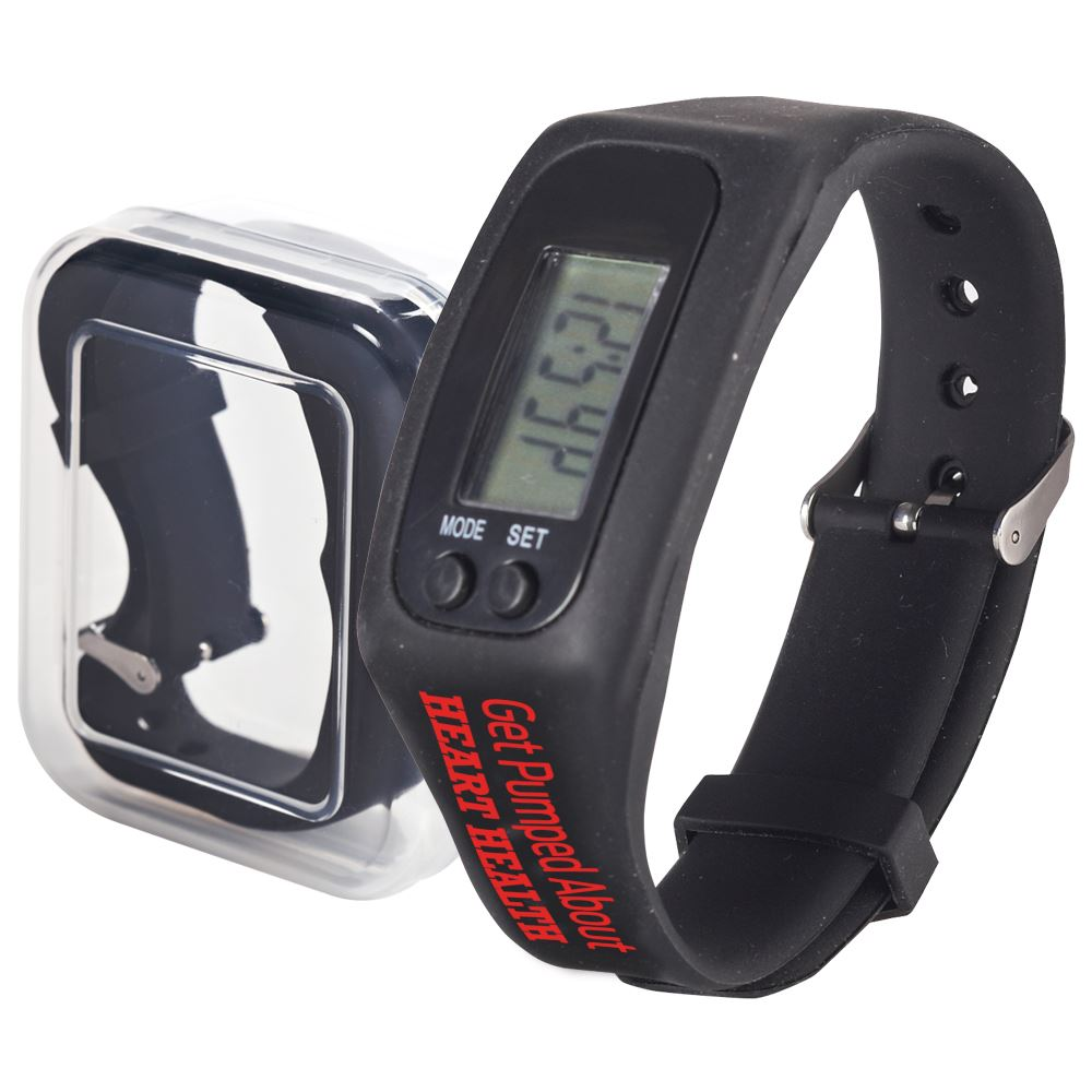 Get Pumped About Heart Health Fitness Watch Pedometer Encourage healthy, active living and motivate everyone to get their heart pumping  Multi-function watch counts steps, records calories burned, measures distances traveled, displays time, and records body weight  US and metric measurement settings available; large digital display  Detailed operating instructions included  Clear plastic case for storage   Adjustable silicone strap fits most wrists