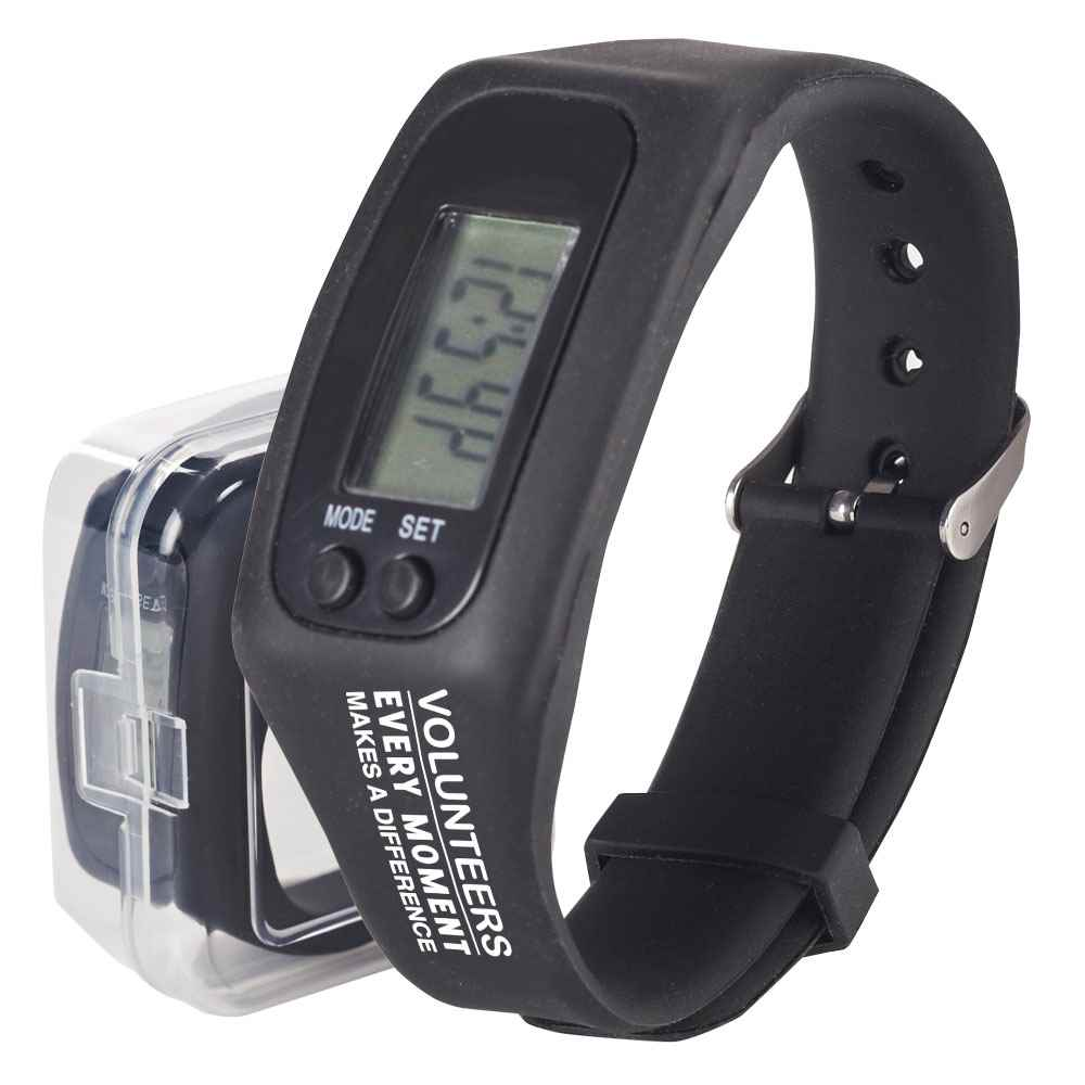 Volunteers: Every Moment Makes A Difference Fitness Pedometer Watch
