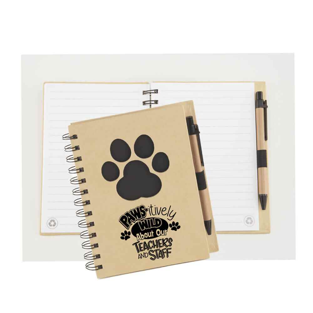 Paws-itively Wild About Our Teachers And Staff Paw Die-Cut Eco Jotter & Pen