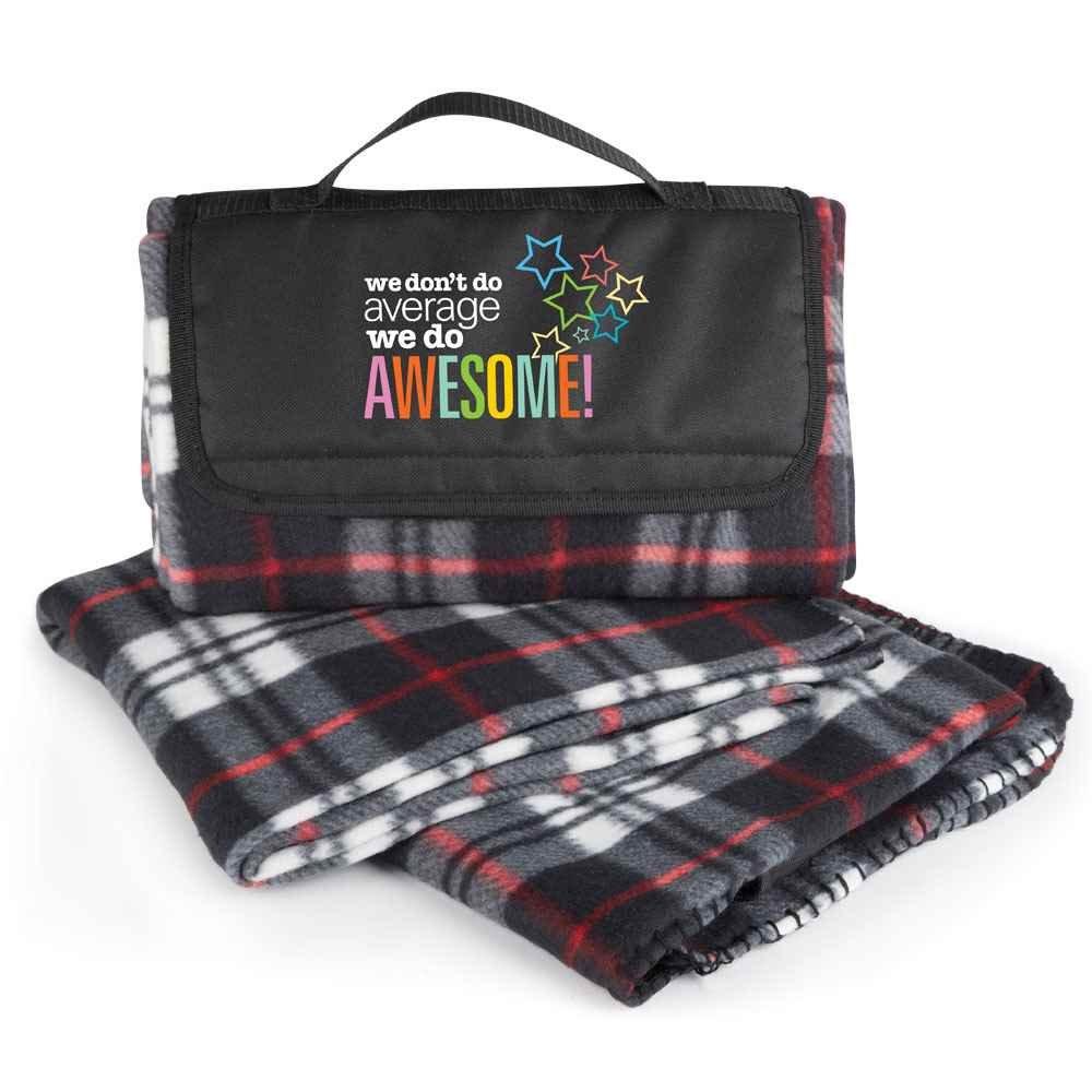 We Don't Do Average, We Do Awesome! Plaid Fleece Blanket