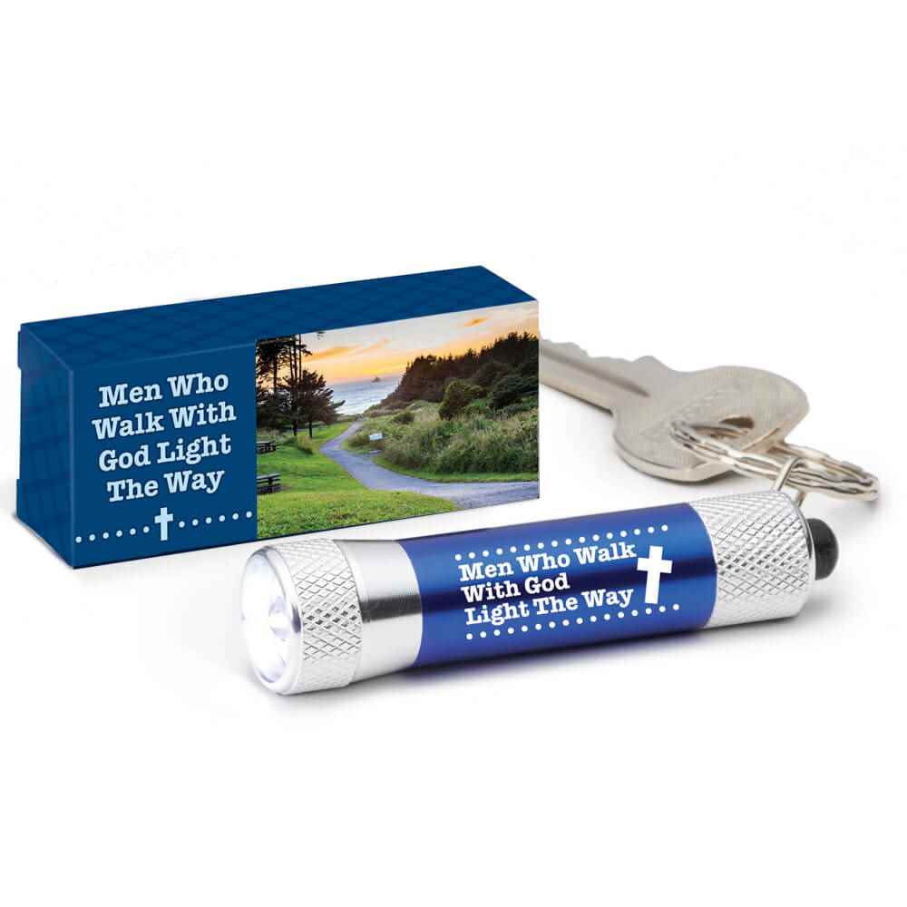 Men Who Walk With God Light The Way LED Aluminum Flashlight Key Tag
