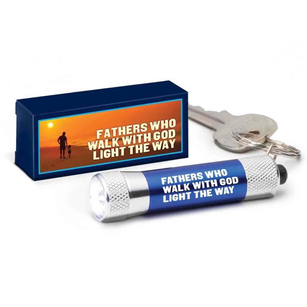 Fathers Who Walk With God Light The Way LED Aluminum Flashlight Key Tag