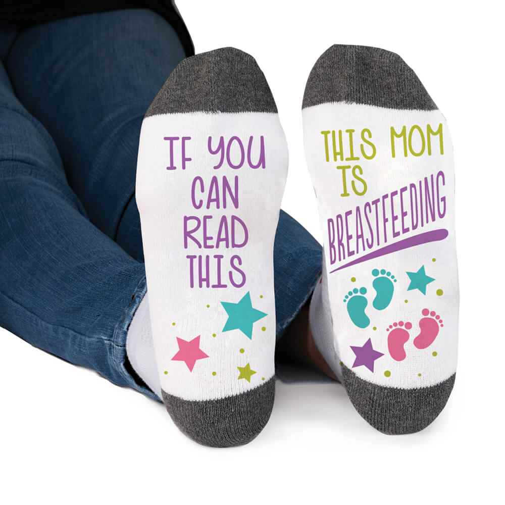 If You Can Read This, This Mom Is Breastfeeding Cushioned Ankle Socks