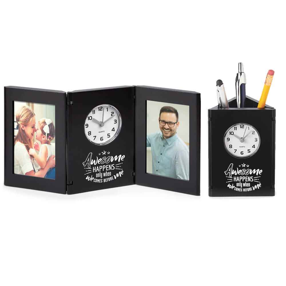 Awesome Happens Only When We Comes Before Me Tri-Fold Frame Clock & Caddy