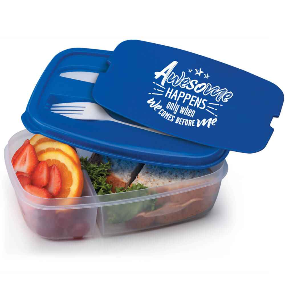 Awesome Happens Only When We Comes Before Me  2-Section Food Container With Utensils