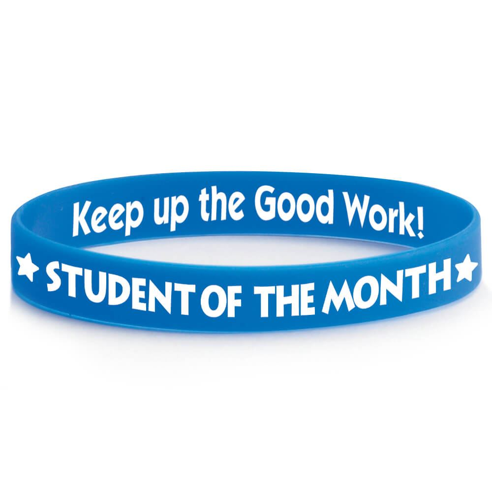 Student Of The Month 2-Sided Blue Silicone Bracelets - Pack of 10