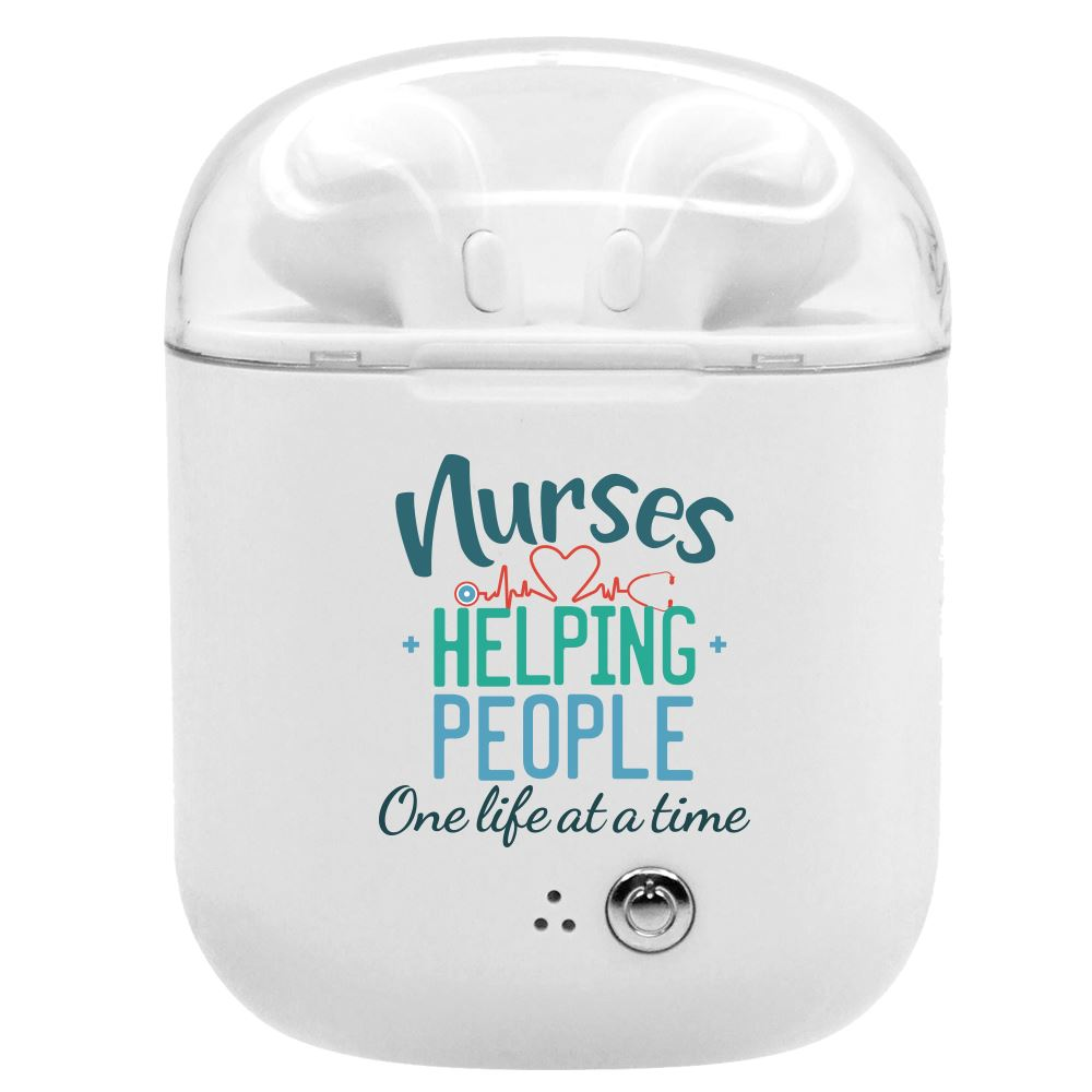 Nurses: Helping People One Life At A Time Bluetooth® Earbuds In Charging Case
