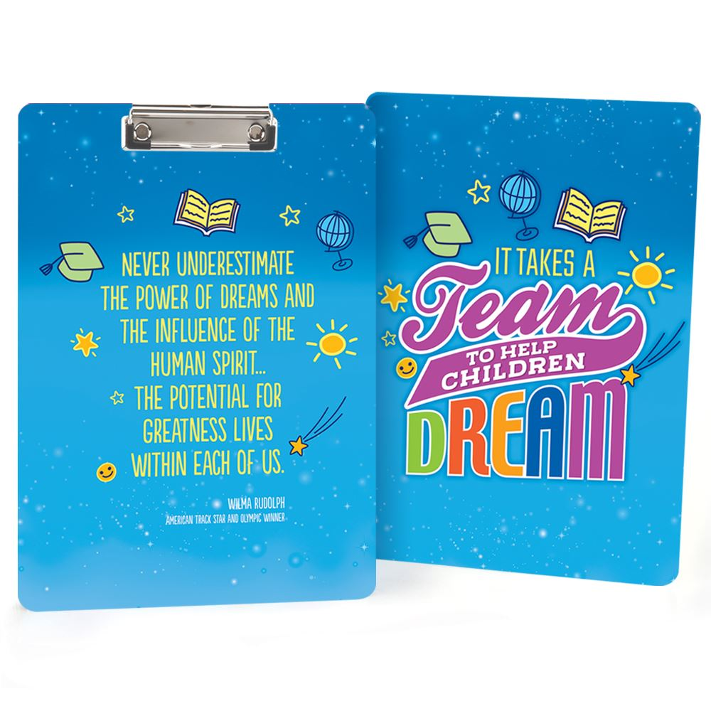 It Takes A Team To Help Children Dream Clipboard