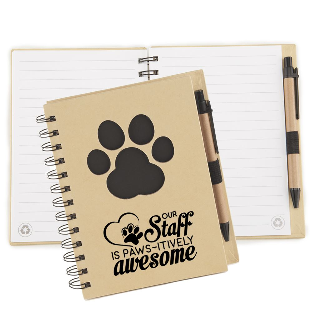 Our Staff Is Paws-itively Awesome Paw Die-Cut Eco Jotter & Pen