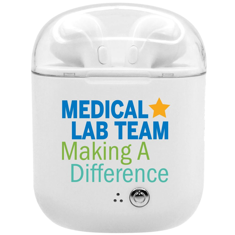 Medical Lab Team Making A Difference Bluetooth® Earbuds In Charging Case