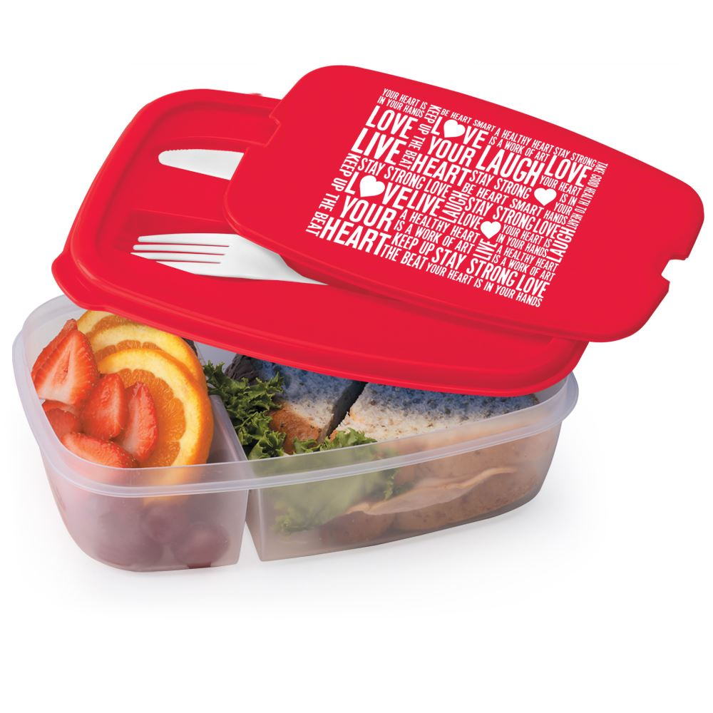 Love Your Heart Word Cloud 2 Section Food Container With Utensils