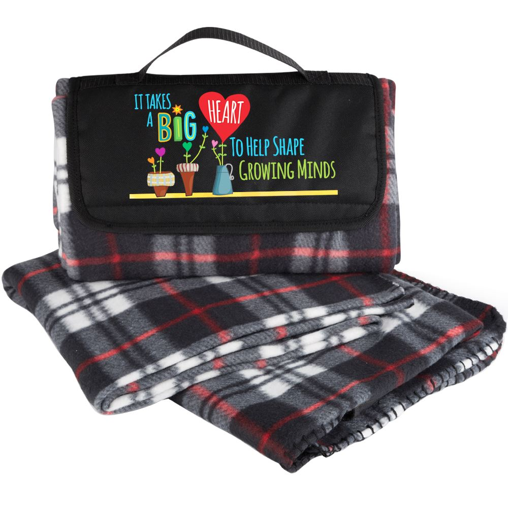 It Takes A Big Heart To Help Shape Growing Minds Plaid Fleece Blanket