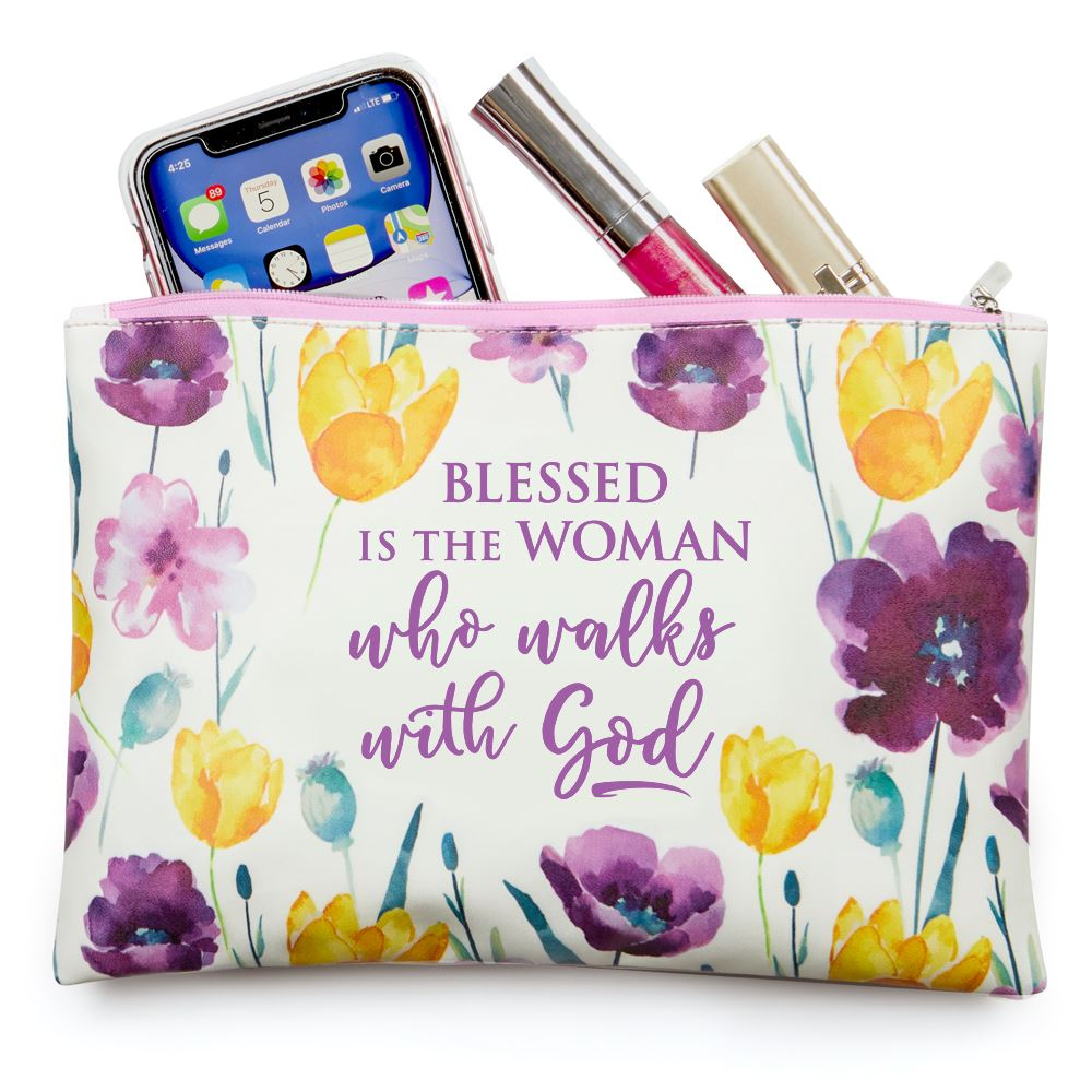 Blessed Is The Woman Who Walks With God Floral Carry-All Pouch