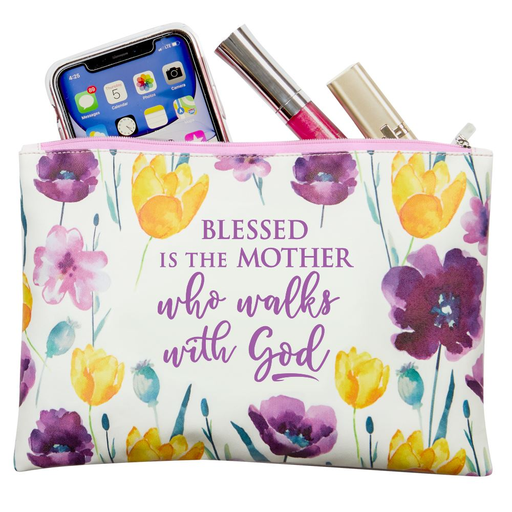 Blessed Is The Mother Who Walks With God Floral Carry-All Pouch