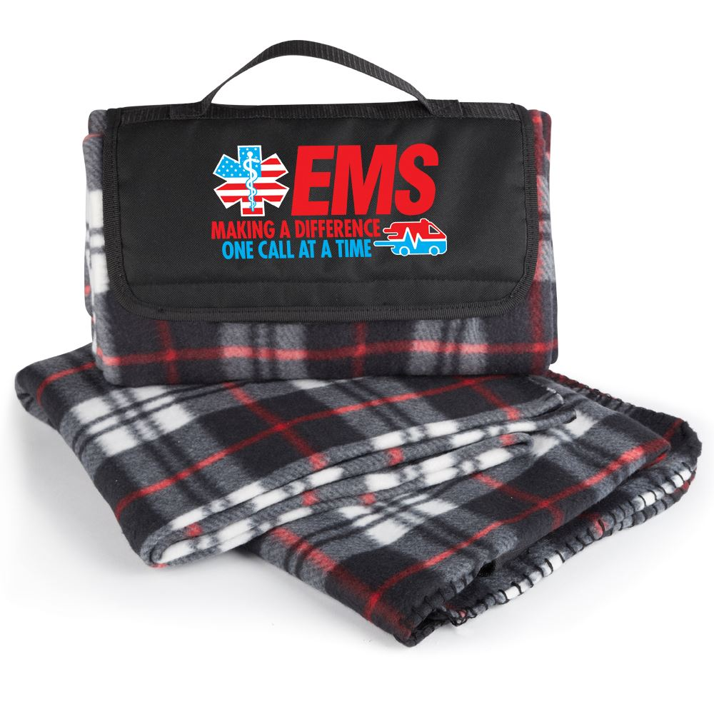 EMS Making A Difference One Call At A Time Plaid Fleece Blanket