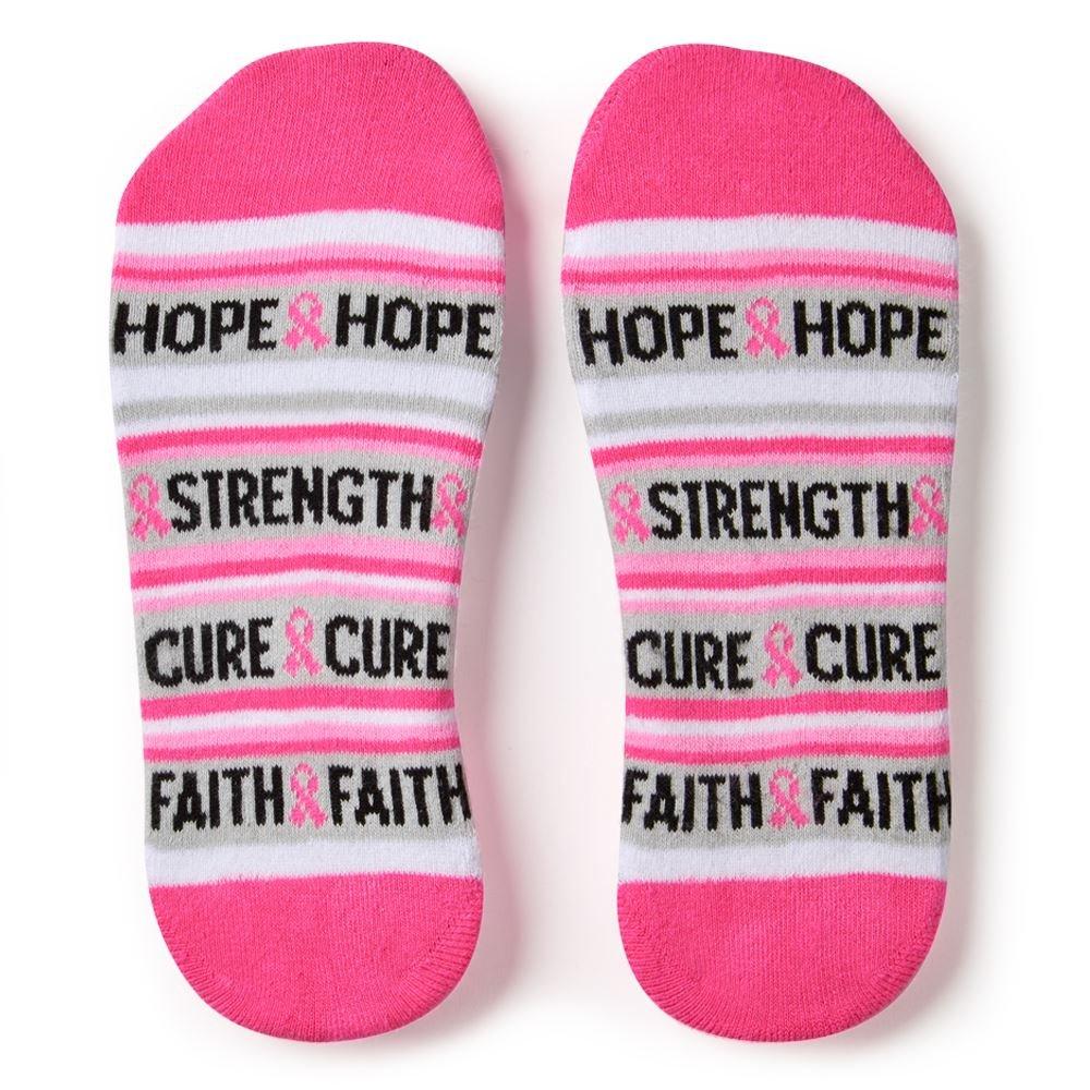 Hope, Cure, Faith, Strong, Stripes Cushioned Ankle Socks