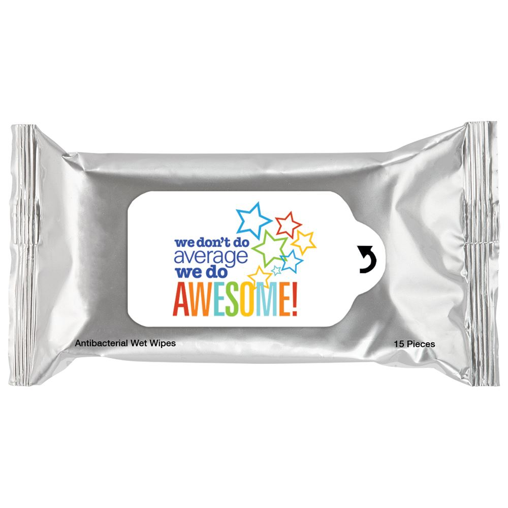 We Don't Do Average, We Do Awesome! Positive Message Antibacterial Wet Wipes