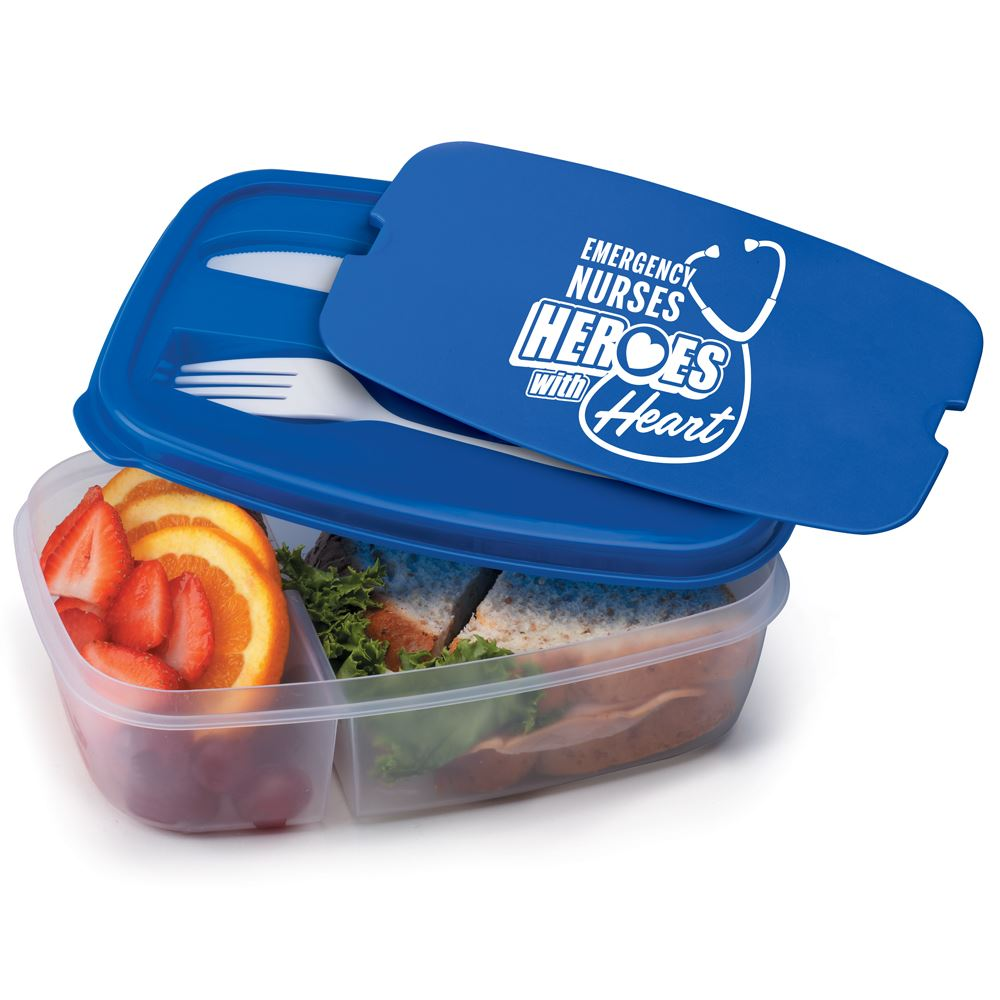 Emergency Nurses: Heroes With Heart 2-Section Food Container With Utensils