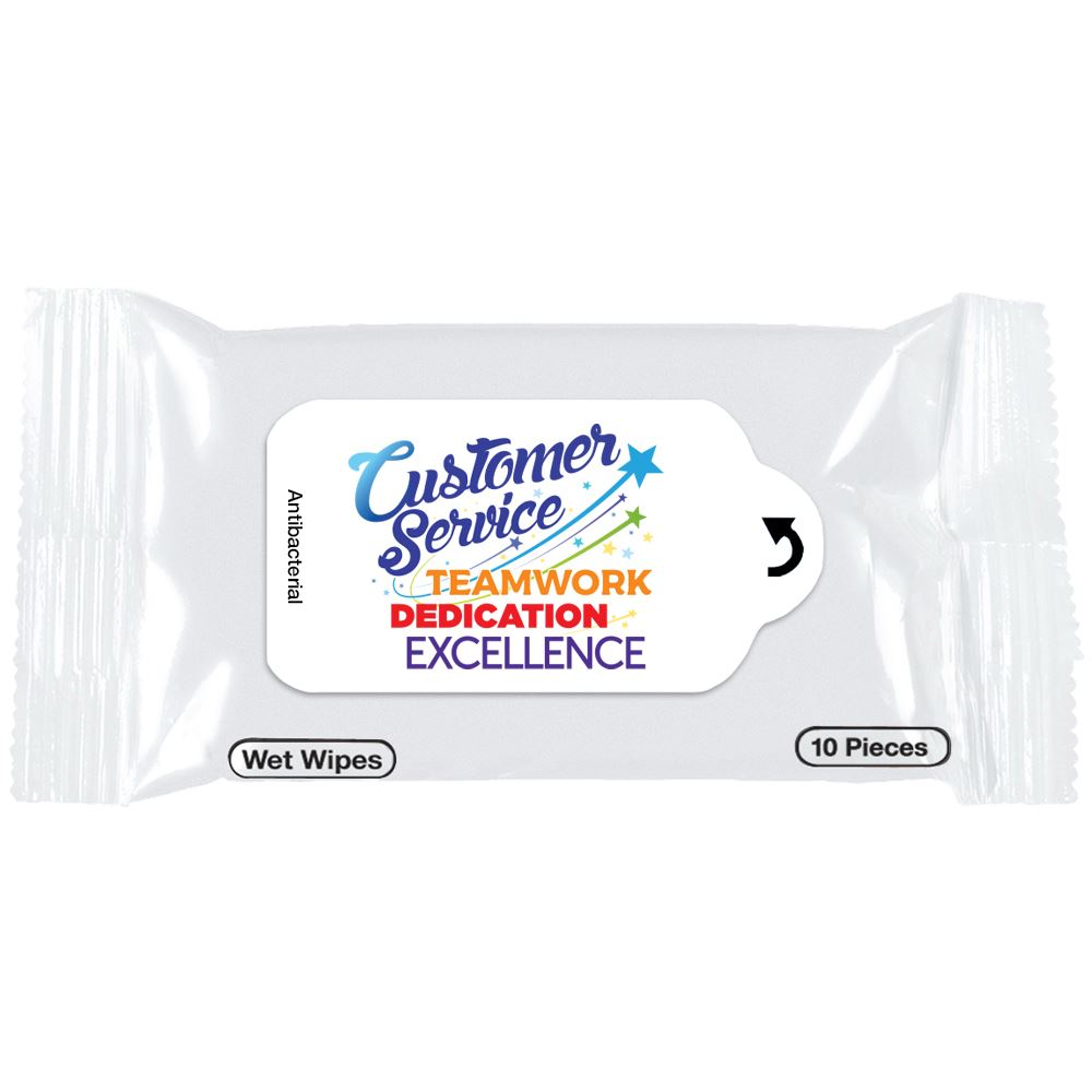 Customer Service Teamwork, Dedication, Excellence Positive Message Antibacterial Wet Wipes