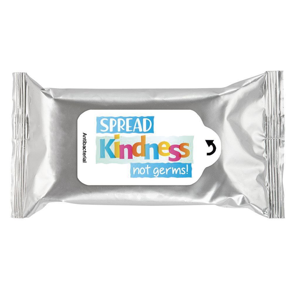 Spread Kindness Not Germs! Positive Message Antibacterial Wet Wipes - Pack of 15