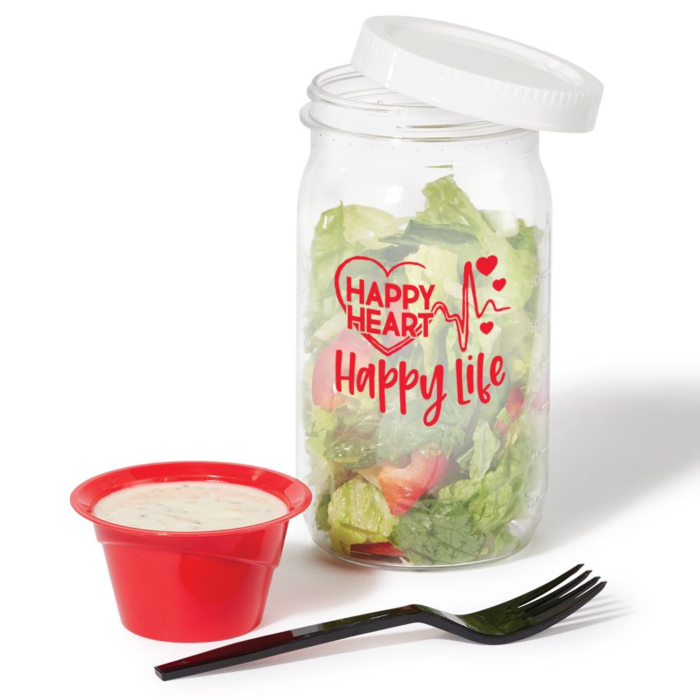 Happy Heart, Happy Life Salad Jar 27-Oz. With Dressing Cup & Fork