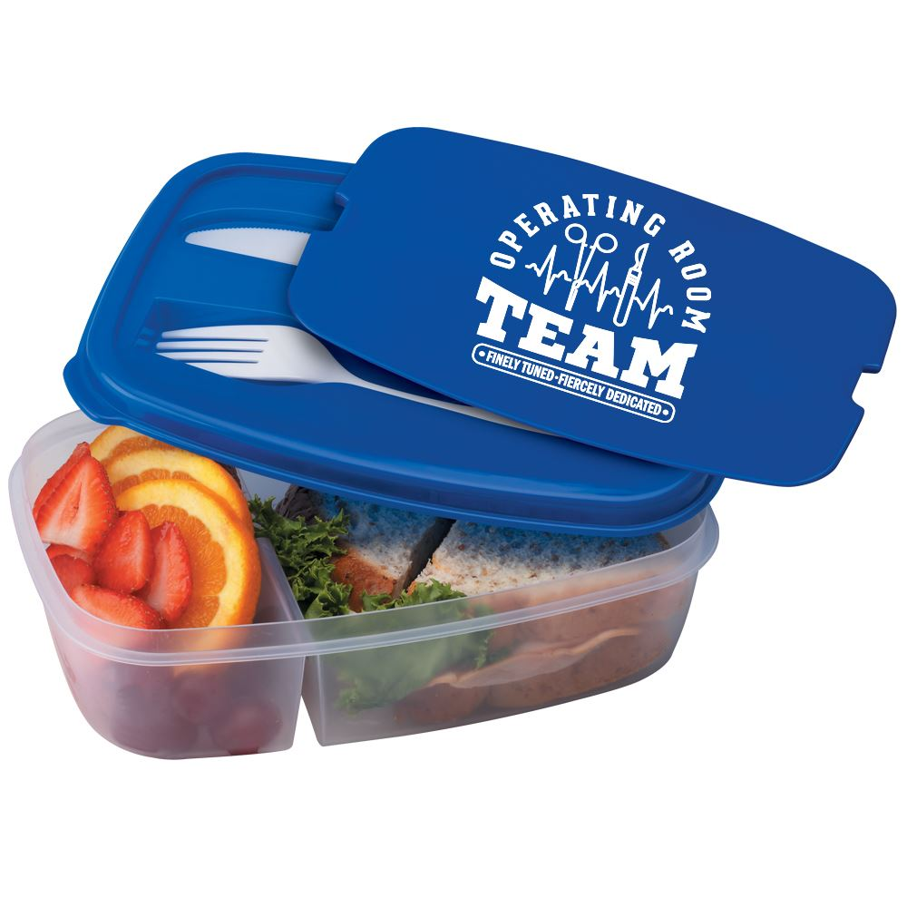 Operating Room Team: Finely Tuned, Fiercely Dedicated 2-Section Food Container With Utensils