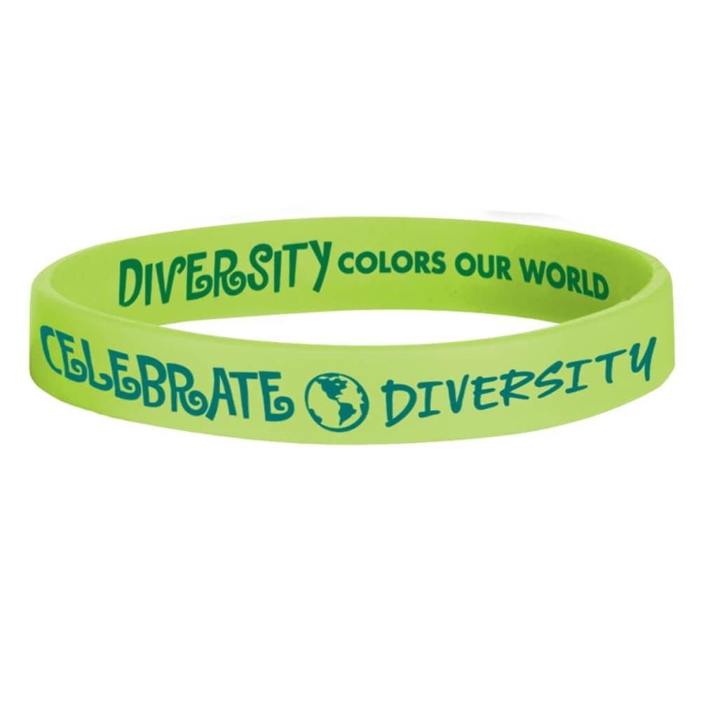 Celebrate Diversity Green Silicone Bracelet Positive