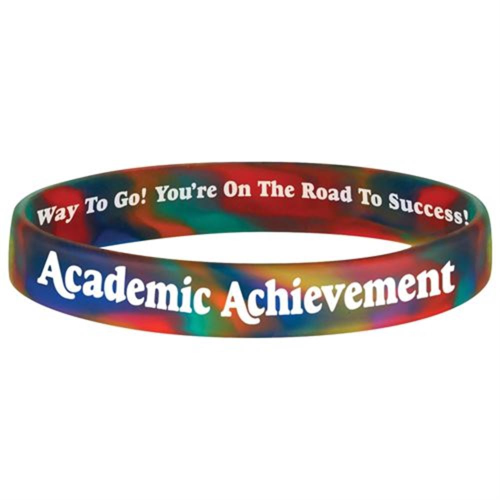 Academic Achievement (Rainbow) 2-Sided Silicone Bracelets - Pack of 10