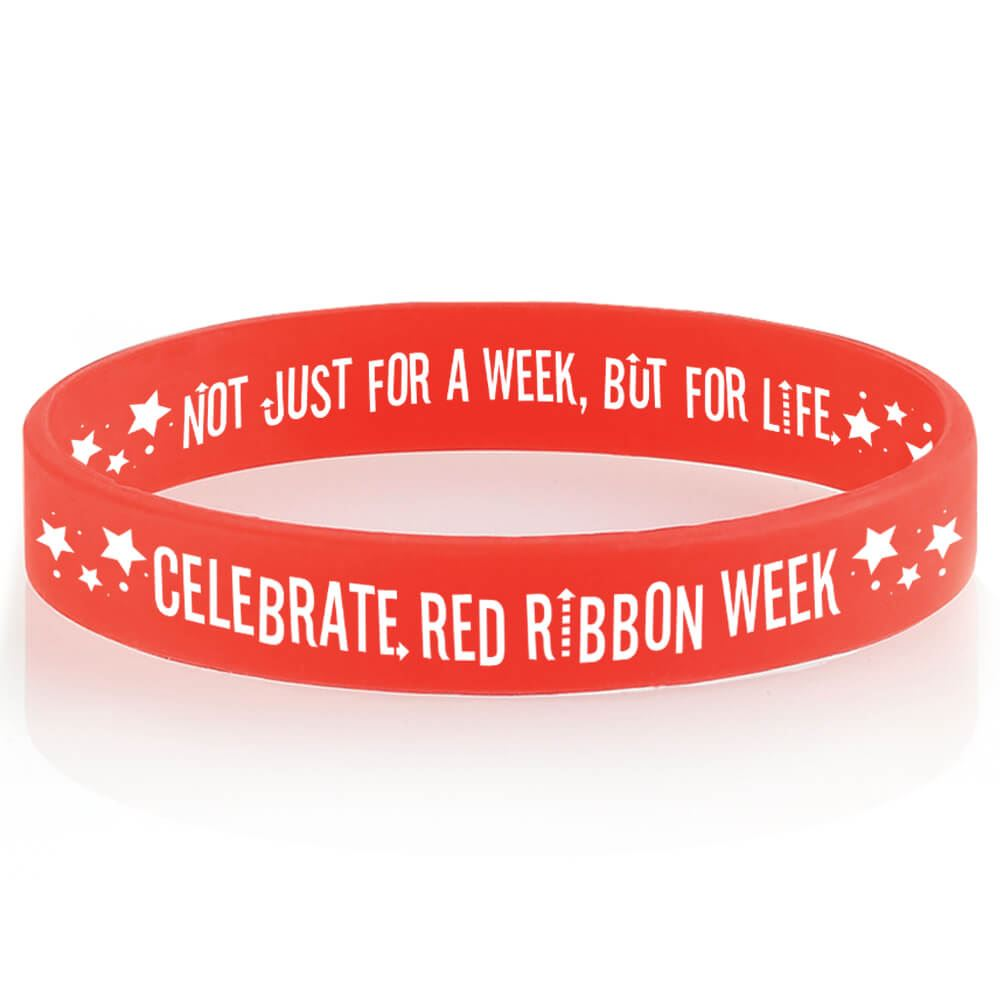 Celebrate Red Ribbon Week 2-Sided Silicone Awareness Bracelets - Pack of 25