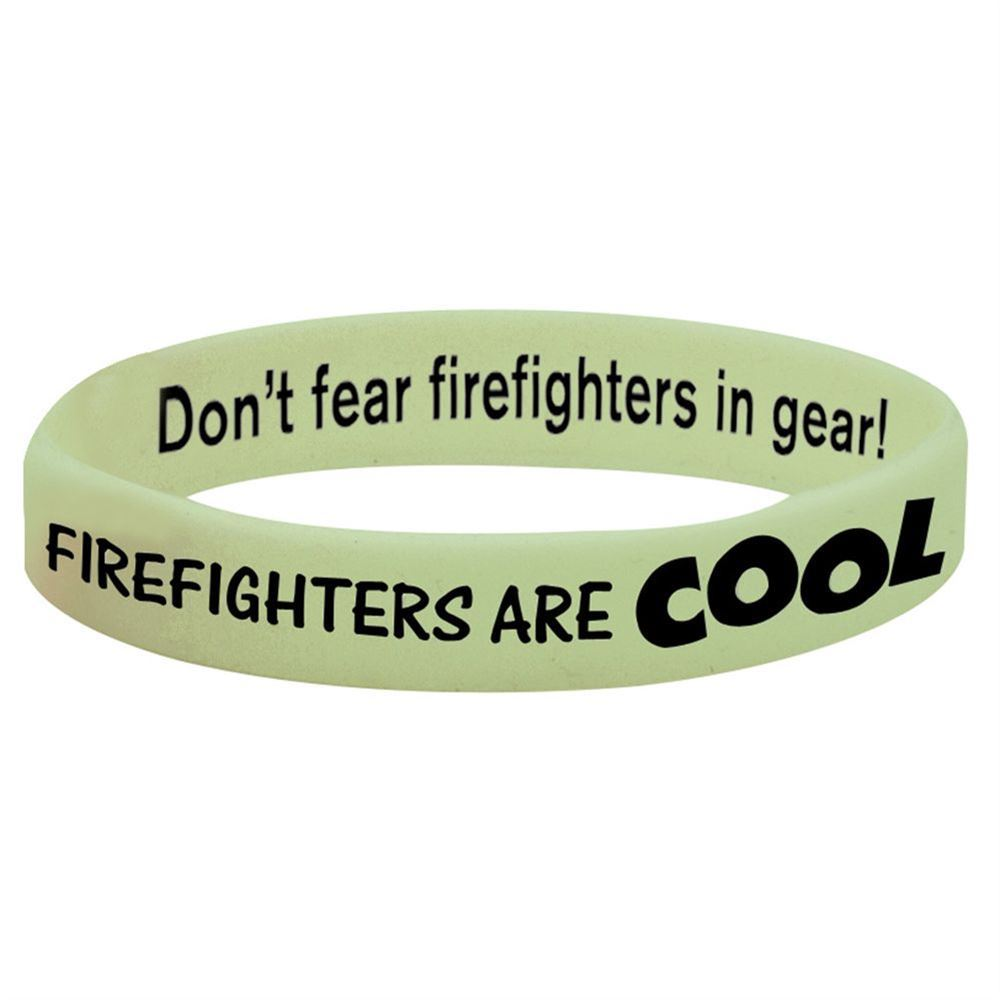 Firefighters Are Cool Glow-In-The-Dark Silicone Awareness Bracelet - 25 Per Pack
