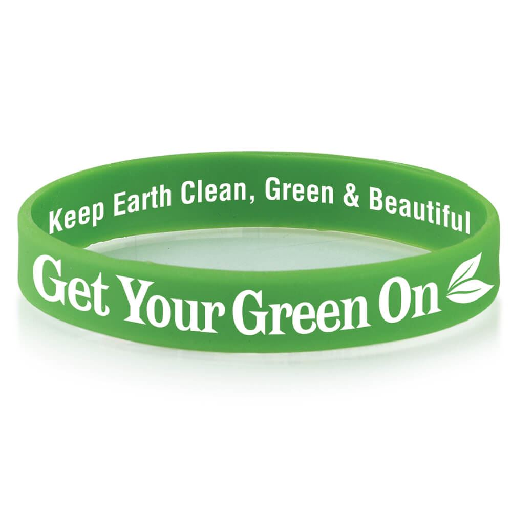 Get Your Green On 2-Sided Silicone Bracelets - Pack of 10