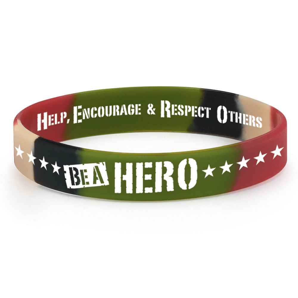 Be A Hero Camouflage 2-Sided Silicone Bracelets - Pack of 25