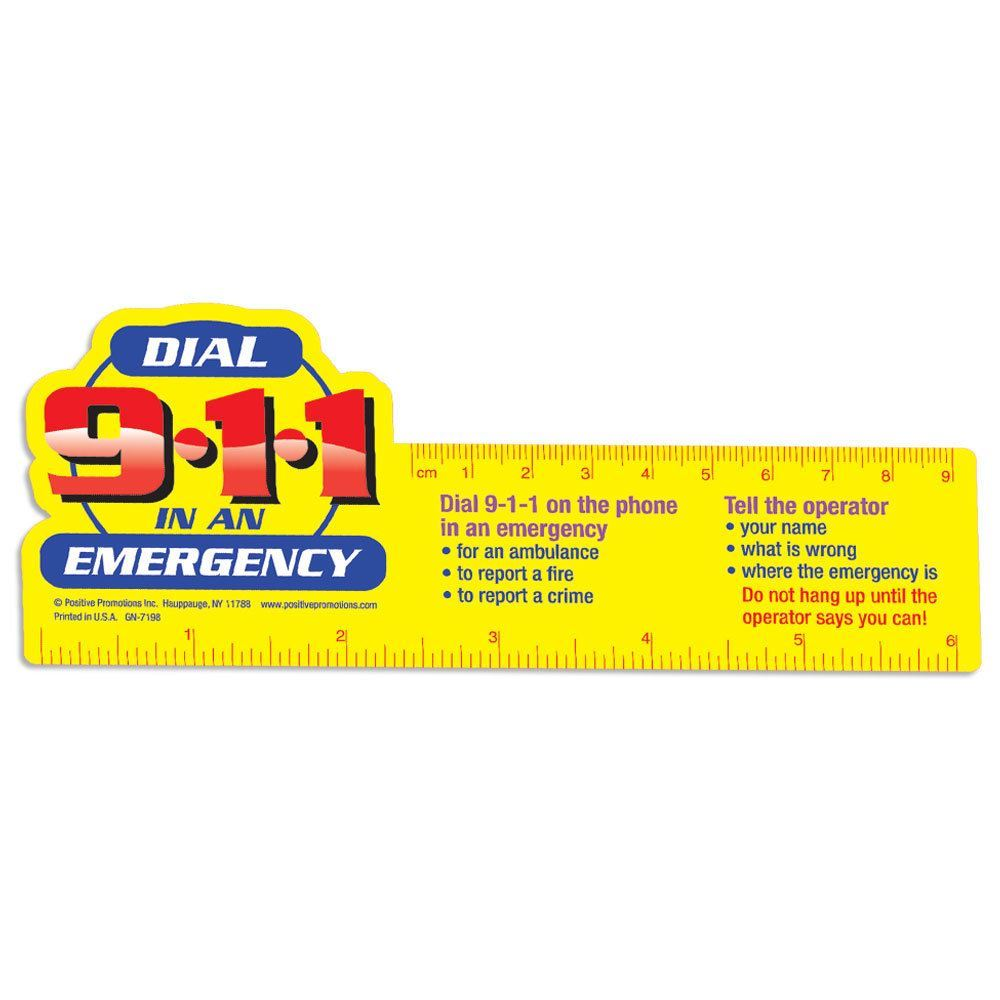 Dial 9-1-1 In An Emergency Laminated Ruler