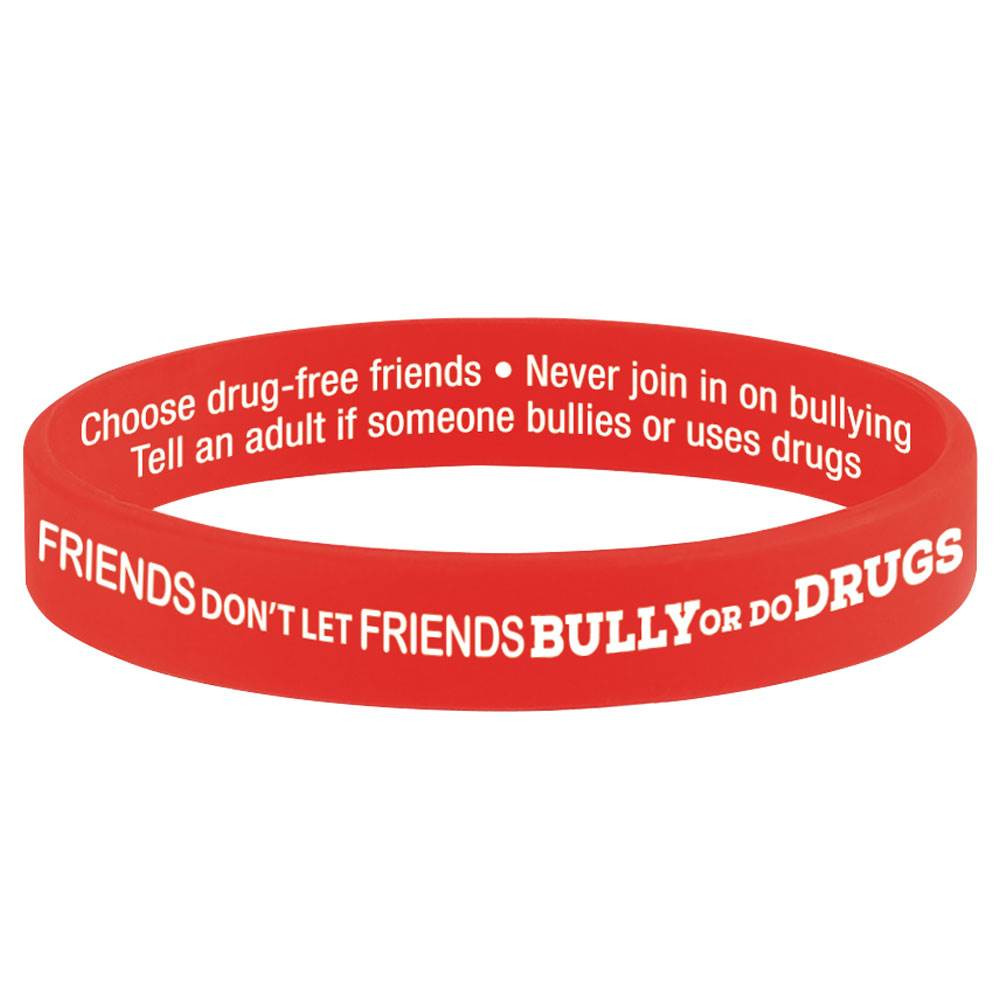 Friends Don't Let Friends Bully Or Do Drugs 2-Sided Red Ribbon Silicone Bracelets - Pack of 25
