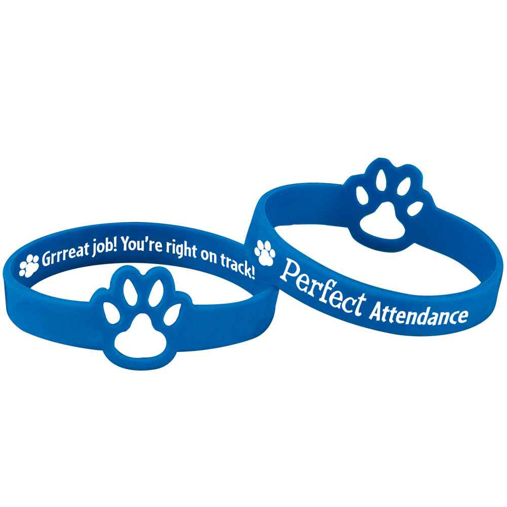 Perfect Attendance Die-Cut 2-Sided Silicone Bracelets - Pack of 10