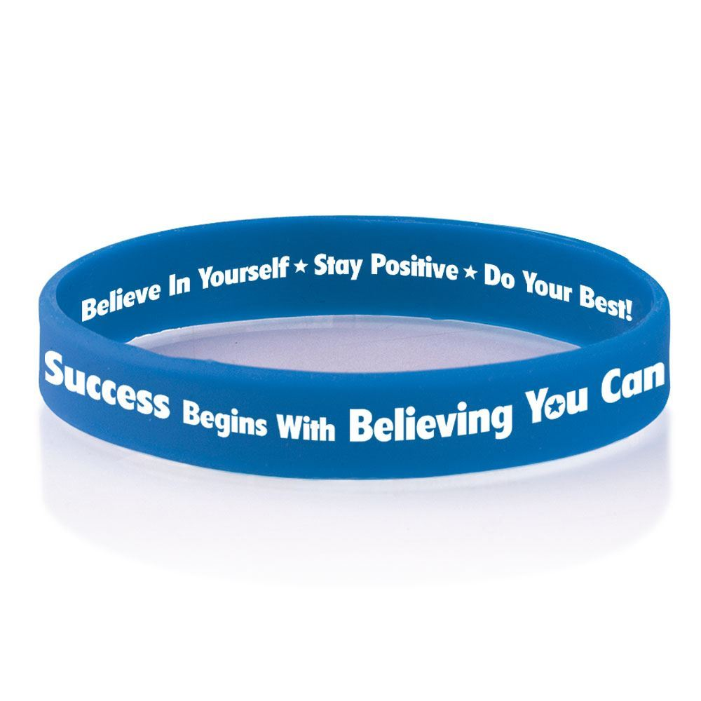 Success Begins With Believing You Can 2-Sided Silicone Bracelets - Pack of 10