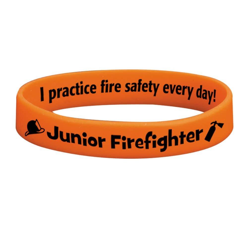 Junior Firefighter Glow-In-The-Dark Silicone Awareness Bracelet - 25 Per Pack