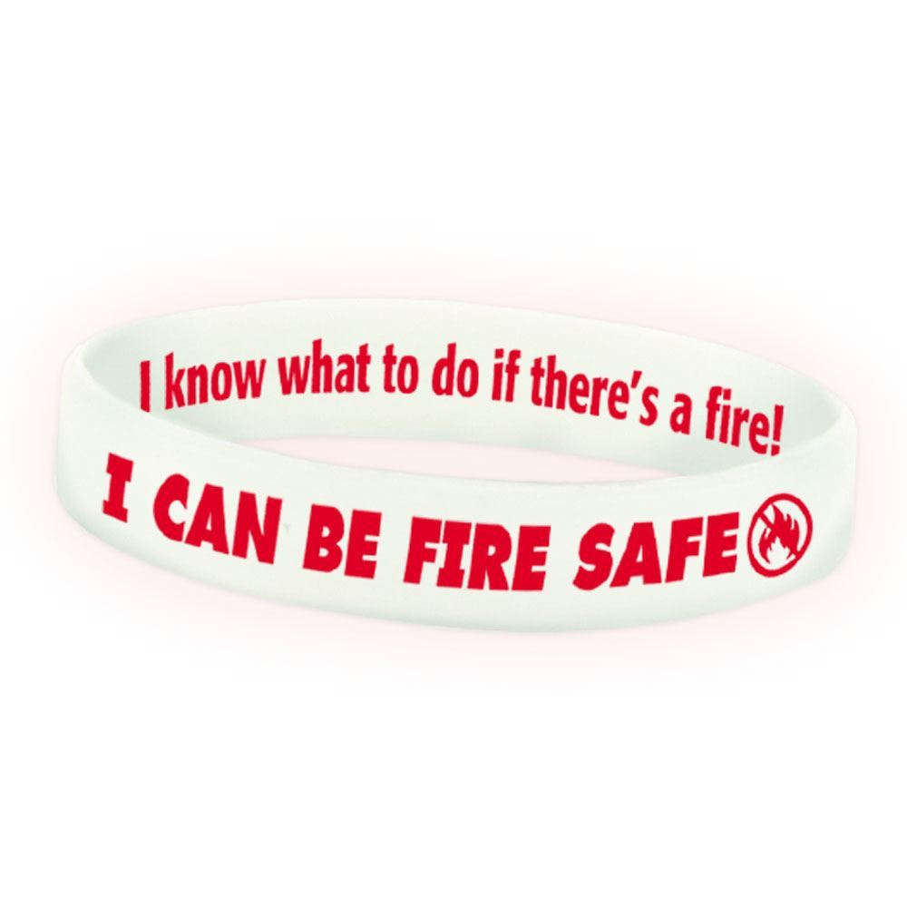 I Can Be Fire Safe Glow-In-The-Dark Silicone Awareness Bracelet - 25 Per Pack