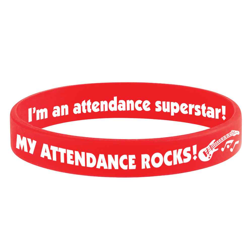 My Attendance Rocks! 2-Sided Silicone Bracelets - Pack of 10
