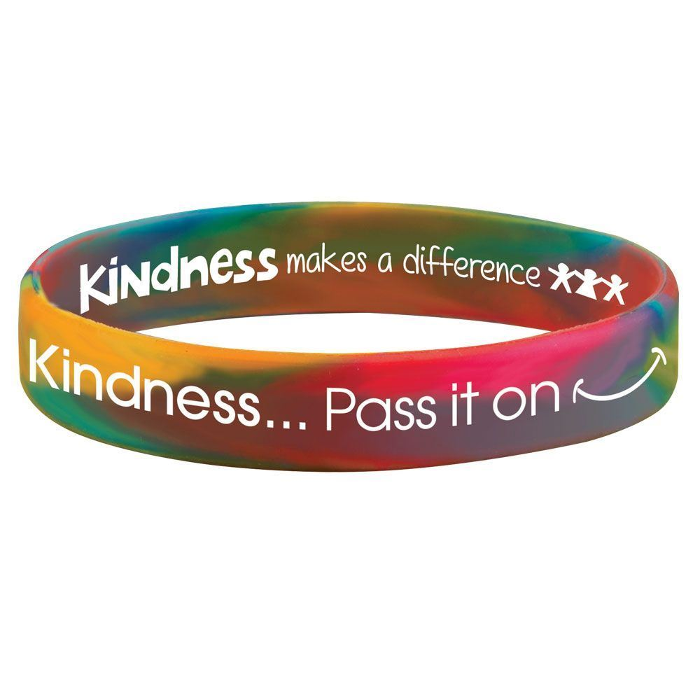 Kindness...Pass It On 2-Sided Rainbow Silicone Awareness Bracelets - Pack of 25