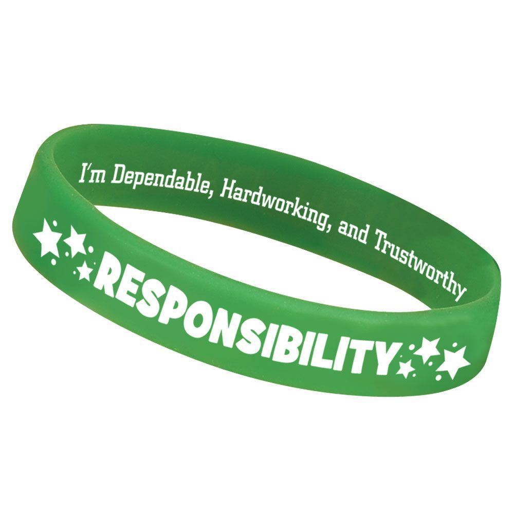 Responsibility 2-Sided Silicone Character Bracelets - Pack of 10