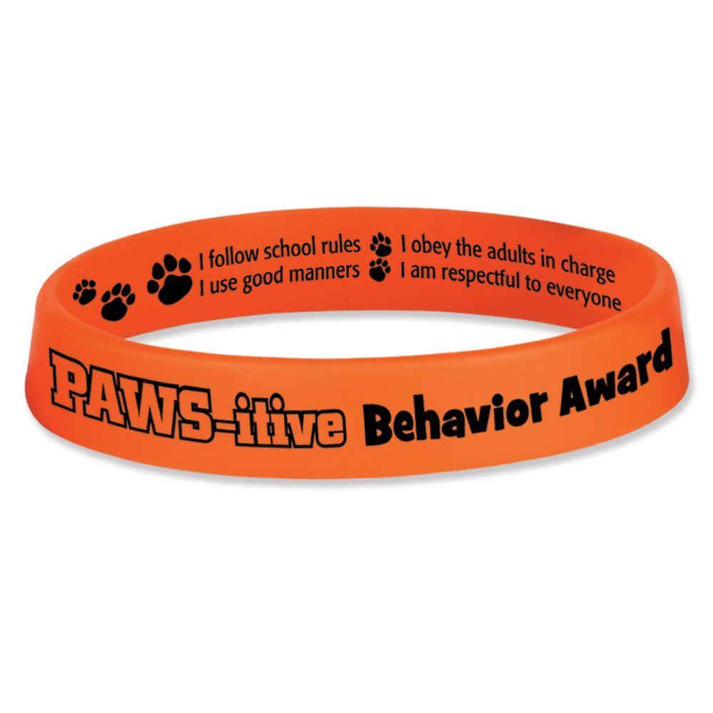 PAWS-itive Behavior Award 2-Sided Silicone Bracelets - Pack of 10