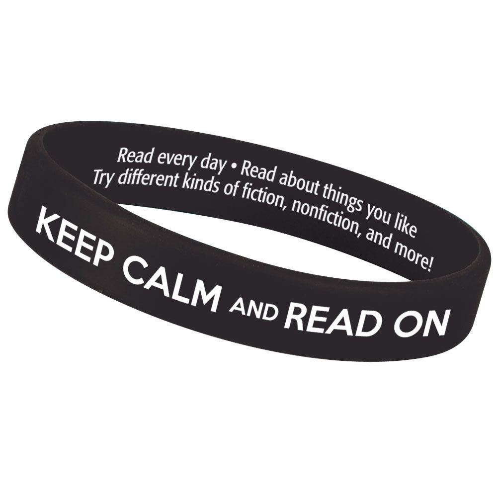 Keep Calm And Read On 2-Sided Silicone Bracelets - Pack of 10