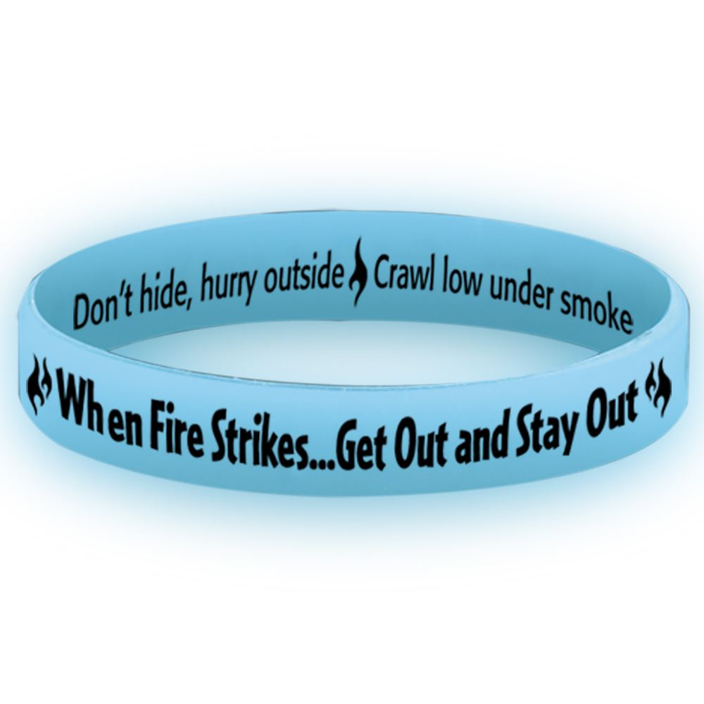 When Fire Strikes Get Out And Stay Out Glow-In-The-Dark Silicone Awareness Bracelet - 25 Per Pack