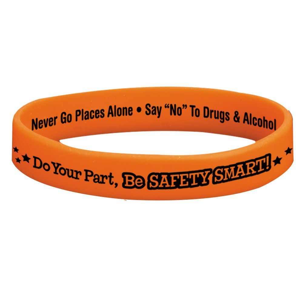 Do Your Part, Be Safety Smart! 2-Sided Glow-In-The-Dark Silicone Awareness Bracelet